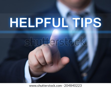 business, technology, internet and networking concept - businessman pressing helpful tips button on virtual screens - stock photo