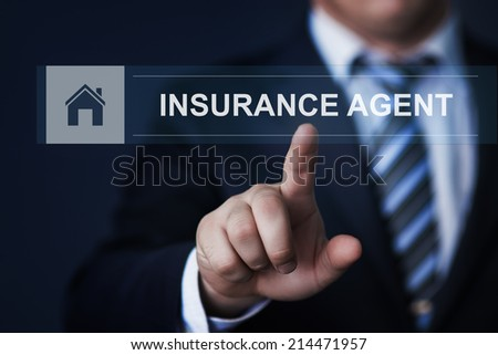 business, technology, internet and networking concept - businessman pressing insurance agent button on virtual screens - stock photo