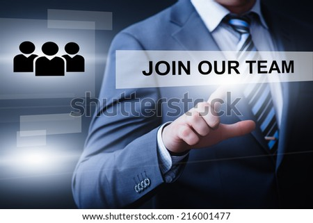 business, technology, internet and networking concept - businessman pressing join our team button on virtual screens - stock photo