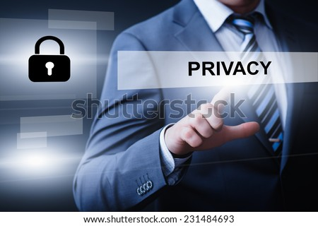 business, technology, internet and networking concept - businessman pressing privacy button on virtual screens - stock photo