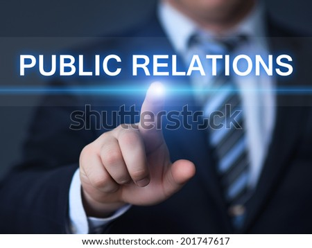 business, technology, internet and networking concept - businessman pressing public relations button on virtual screens - stock photo