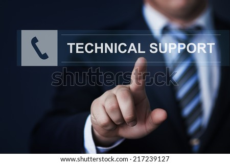 business, technology, internet and networking concept - businessman pressing technical support button on virtual screens - stock photo
