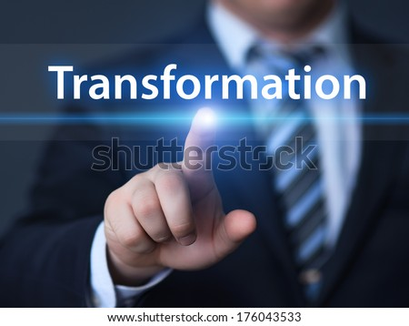 business, technology, internet and networking concept - businessman pressing transformation button on virtual screens - stock photo