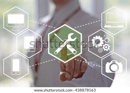 Business, technology, internet and networking concept - businesswoman pressing technical support button on virtual screens. Repair and maintenance business.24/7. Support 24 hours a day. - stock photo