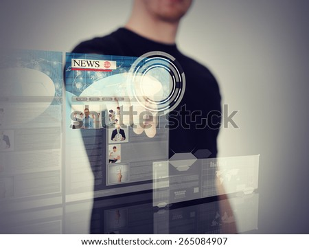 business, technology, internet and networking concept - man pressing button on virtual screen - stock photo