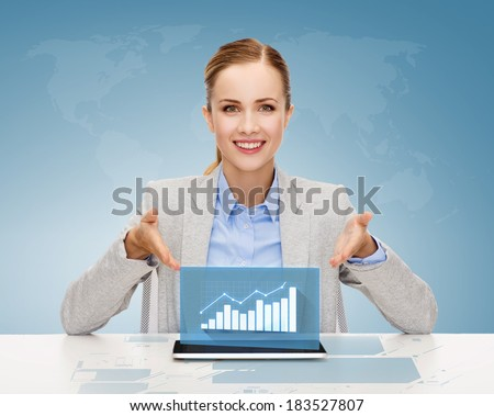business, technology, internet and office concept - smiling businesswoman with tablet pc computer and increasing chart - stock photo