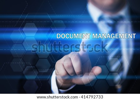 business, technology, internet and virtual reality concept - businessman pressing document management button on virtual screens with hexagons and transparent honeycomb - stock photo