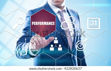 business, technology, internet and virtual reality concept - businessman pressing performance button on virtual screens with hexagons and transparent honeycomb - stock photo