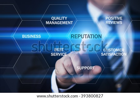 business, technology, internet and virtual reality concept - businessman pressing reputation button on virtual screens with hexagons and transparent honeycomb - stock photo