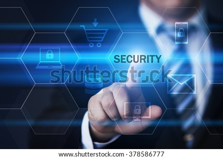 business, technology, internet and virtual reality concept - businessman pressing security button on virtual screens with hexagons and transparent honeycomb - stock photo