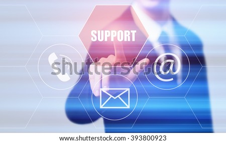 business, technology, internet and virtual reality concept - businessman pressing support button on virtual screens with hexagons and transparent honeycomb - stock photo