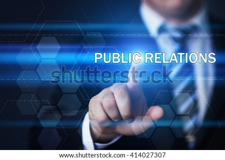 business, technology, marketing, internet and public relations concept - businessman pressing public relations button on virtual screens with hexagons and transparent honeycomb - stock photo
