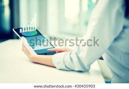business, technology, statistics, progress and people concept - close up of woman with tablet pc computer showing growing charts at office or home - stock photo