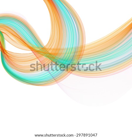 Business  template or cover  with abstract transparent waves - stock photo