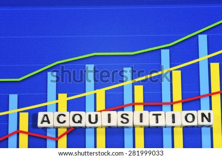 Business Term with Climbing Chart / Graph - Acquisition - stock photo
