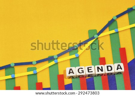 Business Term with Climbing Chart / Graph - Agenda - stock photo
