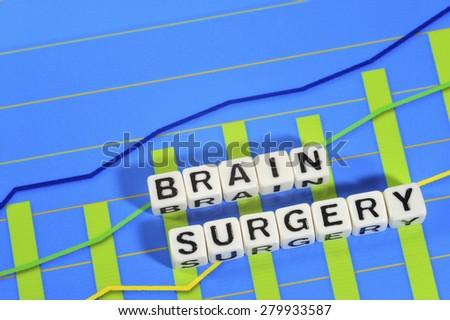 Business Term with Climbing Chart / Graph - Brain Surgery - stock photo