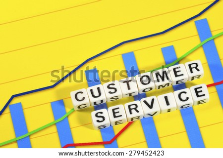 Business Term with Climbing Chart / Graph - Customer Service - stock photo