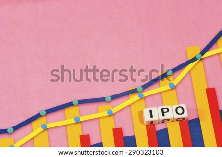 Business Term with Climbing Chart / Graph - IPO - stock photo