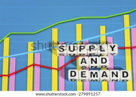 Business Term with Climbing Chart / Graph - Supply And Demand - stock photo
