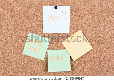 Business terms written on paper and a marker attached to a cork board - stock photo
