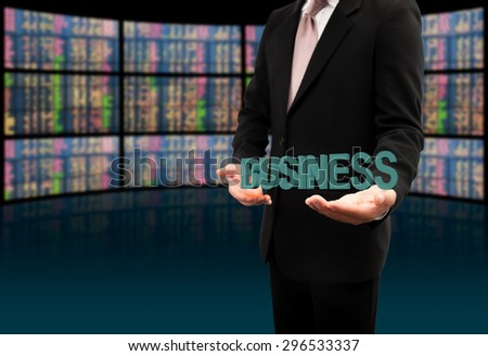Business text on hands businessman. - stock photo