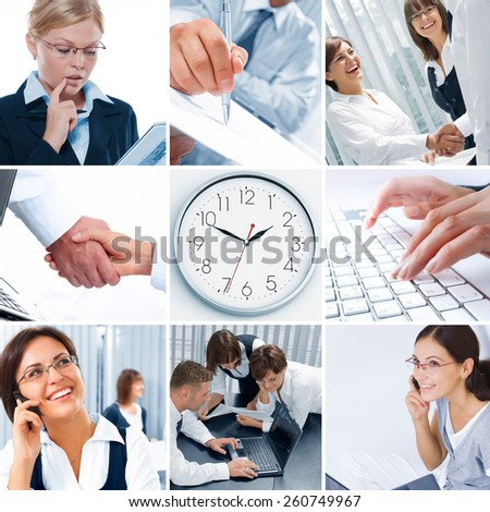 business theme collage composed of different images - stock photo