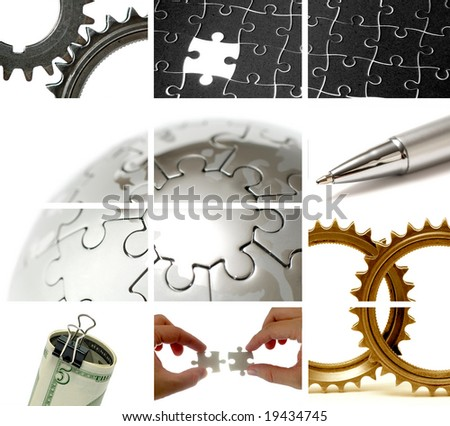 business theme composition out of many images - stock photo