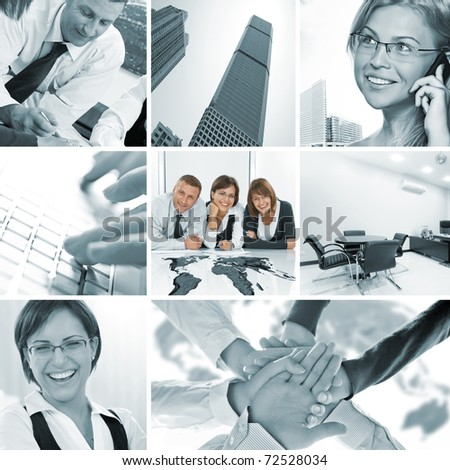 business theme photo collage composed of few images - stock photo
