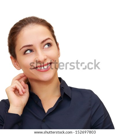 Business thinking woman with hand at face looking on copy space isolated. Closeup portrait - stock photo