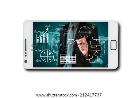 Business through screen mobile phone - stock photo