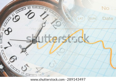 Business time concept. calculator, hand, clock and documents - stock photo