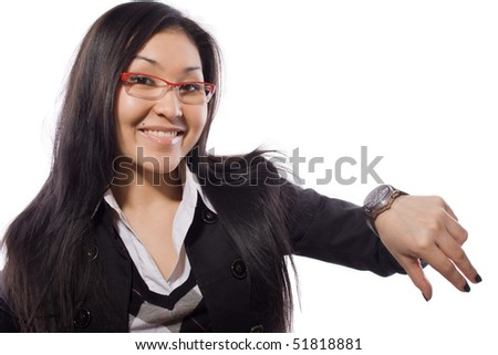 business, time, girls, alarm, hand, professional, smiling, working - stock photo