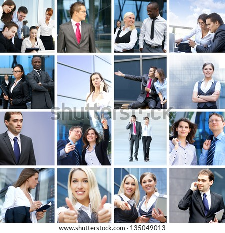 Business, time, money, people and success: collage made of many different pictures - stock photo