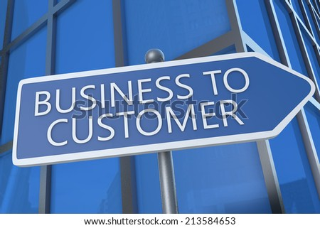 Business to Customer - illustration with street sign in front of office building. - stock photo