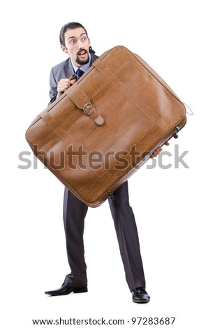 Business travel concept with businessman - stock photo