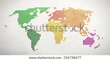 Business / Travel Concept. World Map made of textured dots on a  slightly textured white background. - stock photo