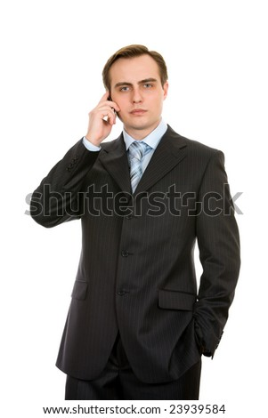 Business with a mobile phone. Isolated on white. - stock photo