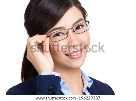 Business woman adjust glasses - stock photo