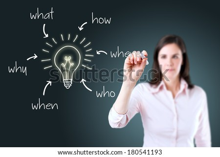 Business woman analyzing problem and find solution.  - stock photo
