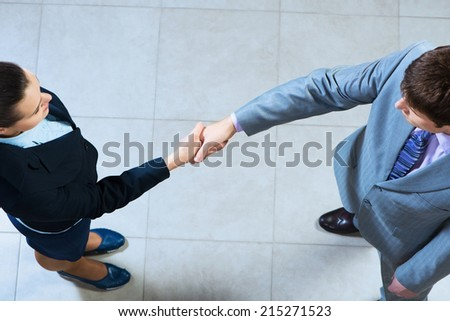 Business woman and businessman shaking hands, reach agreement - stock photo