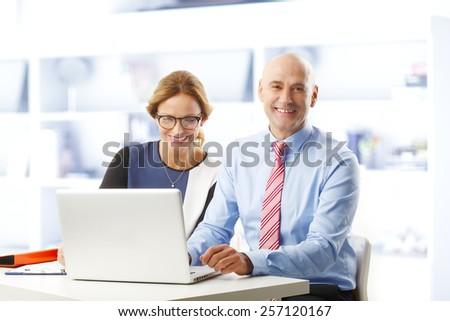 Business woman and businessman sitting at desk in front of laptop at office while analyzing financial data.  - stock photo