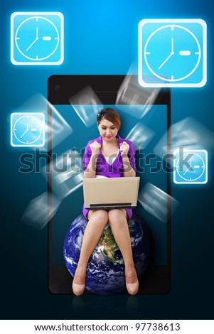 Business woman and Clock icon from mobile phone : Elements of this image furnished by NASA - stock photo