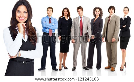 Business woman and group of workers people. Isolated over white background. - stock photo