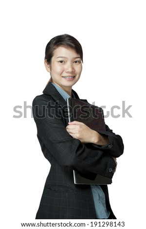 Business woman and laptop - isolated over a white background - stock photo