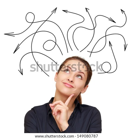 Business woman and many arrows above isolated on white background - stock photo