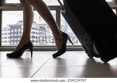 Business woman  at the airport - stock photo