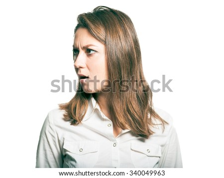 Business woman at work annoyed. studio photo on a white background - stock photo