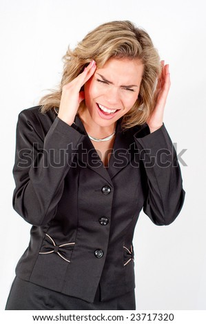 Business woman can't stand loud noise or having headache - stock photo