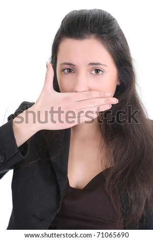 Business woman cant talk anymore over white - stock photo
